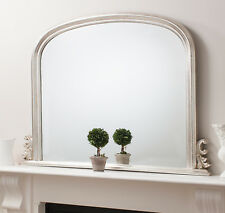 "Toronto Silver Leaf Large Wall Overmantle Fireplace Arched Dome Mirror 47"" X 37"""