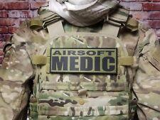 "3x8"" AIRSOFT MEDIC Black on OD Green Tactical Hook Back Morale Patch for vest"