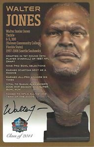 Walter Jones Seattle Seahawks  Football Hall Of Fame Autographed Bust Card