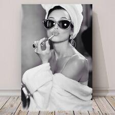 Audrey Hepburn Art Canvas Art Fashion Art Beauty Room Art Sunglasses Robe Towel