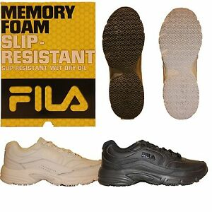 Womens Fila Workshift Non Skid Slip Resistant Memory Foam Work Shoes Black White