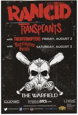 Sweet Mint 13 Rancid Transplants San Francisco Ca Warfield Theatre Show Handbill