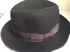 Tracy Watts Brooklyn New York USA Made Black Rabbit Fur Felt Hat 7 1/4 58cm M