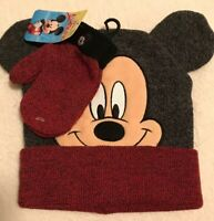 DISNEY Mickey Mouse Winter Hat & Gloves Set Mittens Brown Red NWT.