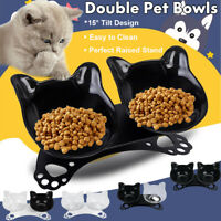 Non-slip Pet Dog Cat Double Bowls with Raised Stand Food Water Feeding