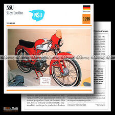 #096.07 NSU 50 CAVALLINO 1958 Cyclo Moped Fiche Moto Motorcycle Card
