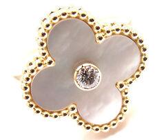 Auth! Van Cleef & Arpels Vintage Alhambra 18k Gold Diamond Mother Of Pearl Ring