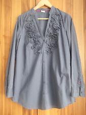 Esprit Business Long Bluse Baumwolle Gr. 40 L Blau mit Rüschen