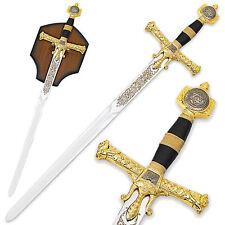 Judgement of King Solomon Sword 47in Gold Medieval Broadsword w Plaque Israel