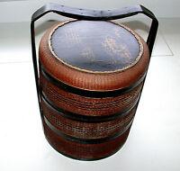 Antique 1800-1850 Japanese Jubako Wedding Day Food Carrier Three Tier Box