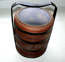 Antique 1800-1850 Japanese Jubako Wedding Day Food Carrier Three Tier Box