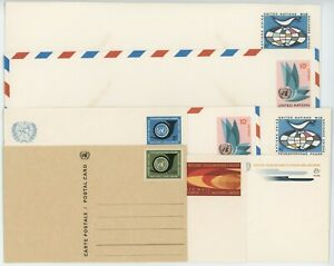 United Nations Stationary Postcards & Envelopes 1966 to 1969 Lot of 8 #14589