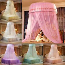 Elegant Lace Bed Mosquito Netting Mesh Canopy Princess Round Dome Bedding Net AU