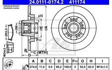1x ATE Disco de Freno Trasero Pleno 274mm 24.0111-0174.2