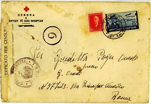 Albania 1942 Red Cross censor cover to Italy