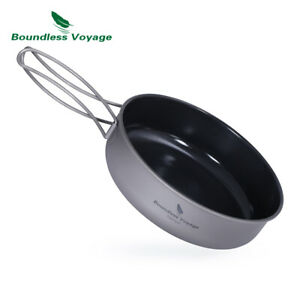 Titanium Non-stick Frying Pan with Ceramic Coating Folding Handle for Outdoor