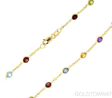 Anklet14K Anklet Yellow Gold Shiny Link +Multi Color Round Faceted Station Stone