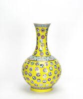 Superb Chinese Yellow Glazed Ground Famille Rose Medallion Porcelain Vase