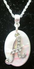 STERLING SILVER 16 INCH CHAIN WITH A MOTHER OF PEARL WITH THE LETTER A PENDANT