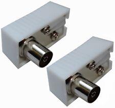 2X Connecteur prise fiche antenne TV femelle coudé 9,5mm IEC 169-2 télé coaxial