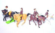 4 Britains Ltd 1:32 Farm & RIDING SCHOOL MALE & FEMALE HORSE RIDERS Mint`78 RARE
