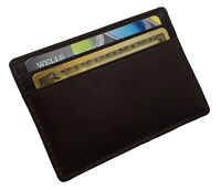 AG Wallets MENS Leather Minimalist Front Pocket Card Holder Wallet Brown