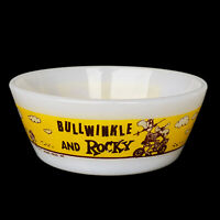 Vintage Rocky & Bullwinkle Westfield Milk Glass Bowl