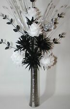 Artificial Silk Flowers Black & White Flower Arrangement in Silver Vase 75cm.