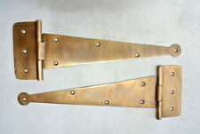 """2 Large hinges vintage aged hand solid Brass DOOR box restore heavy 9"""" long B"""