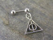 "Harry Potter Deathly Hallows 16g 1/4"" 6mm Cartilage Earring Triangl Stud Barbell"