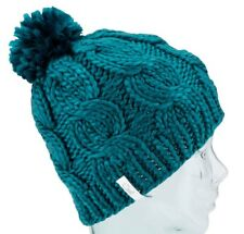 Coal Headwear THE ROSA Womens 100% Acrylic Cable Knit Pom Beanie Teal NEW