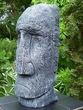 Moai-Tiki-Osterinsel-Figur-Skulptur-39 cm-Steinguss-Frostfest-patiniert Garten
