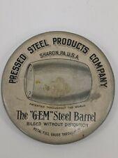 Vtg Pressed Steel Products Co. Advertising Celluloid Pocket Mirror Gem Barrel