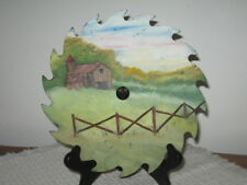 "Hand Painted 8"" Circular Saw Blade Country Barn Fence and Meadow Scene Signed CP"