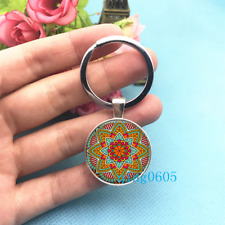 Mandala Art Photo Tibet Silver Key Ring Glass Cabochon Keychains -297
