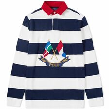 7590e508a4b Mens Polo Ralph Lauren Crossed Flags 87 LS Embroidered Rugby Polo Shirt S BN