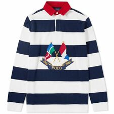 Mens Polo Ralph Lauren Crossed Flags 87 LS Embroidered Rugby Polo Shirt S BN
