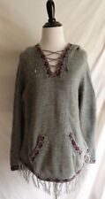 Alpaca Connection L Gray 100% Wool Fringe Poncho Hoodie Boho Peru Sweater Jacket