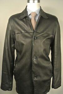 Izod Solid Black 100% Leather Four Button Basic Jacket Men's Size: Large