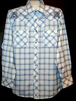 Fusai  Men's White Blue  White Plaids Floral  Button Up Shirt Size XL NEW