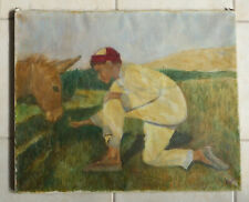 """Junge mit Esel Dalmatien""Ölgemälde/Lw. monogr. WF Rs.bez  W. Freundenberg 1931"