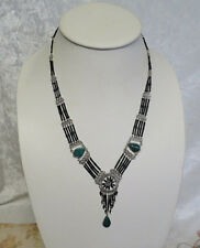 Peruvian Turquoise Gemstone Necklace with black glass beads