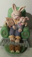 "Easter Bunny Music Box ""Easter Parade"" 6"" Ceramic Resin Bunny Reading In Chair"
