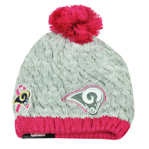 NFL New Era Breast Cancer Awareness Knit Beanie St Louis Rams Pink Womens Hat