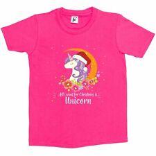 Flower Moon Stars All I Want For Christmas Is Unicorn Kids Boys / Girls T-Shirt