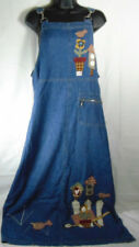 Baccini Women's Size M Hooked Jumper Dress Denim With Beverly's Bird Appliques