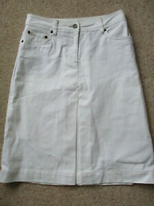 BNWT Boden white cotton with elastane denim jean style knee length skirt size 8
