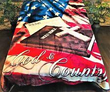 ☀️NEW 79x96 Luxury MEDIUM Weight Queen Blanket American Flag USA Patriotic Wolf