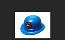 Lego Blue Minifig, Headgear Hat Bowler w/ Red Flower w/ Yellow Center Pattern
