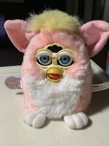 Rare 1999 Tiger Electronics Furby Pink White W/ Blue Eyes Yellow Hair Tag Works!
